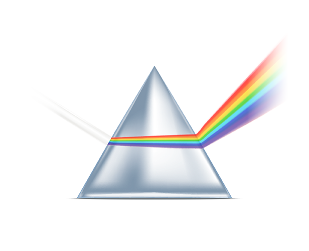 White light on a prism, producing a range of colors