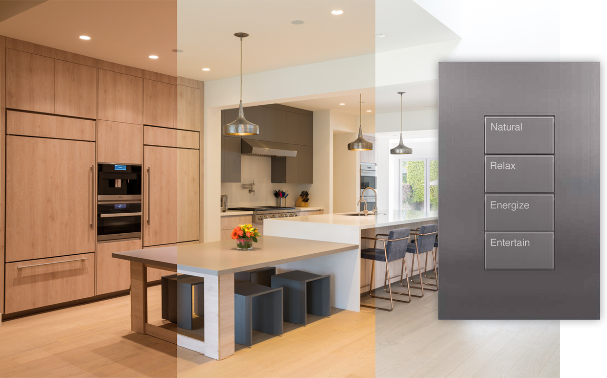 Ketra lighting in kitchen with Lutron Palladiom keypad
