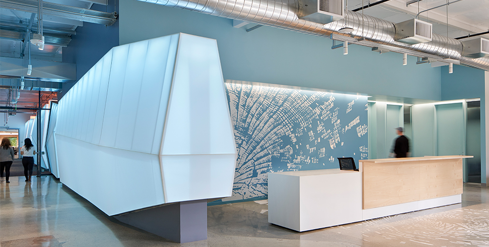 Lobby area of Google Shorebird workspace