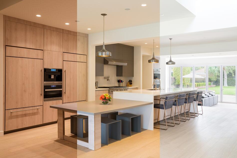 Split image showing Ketra's dynamic Natural Light throughout the day in a residential kitchen space