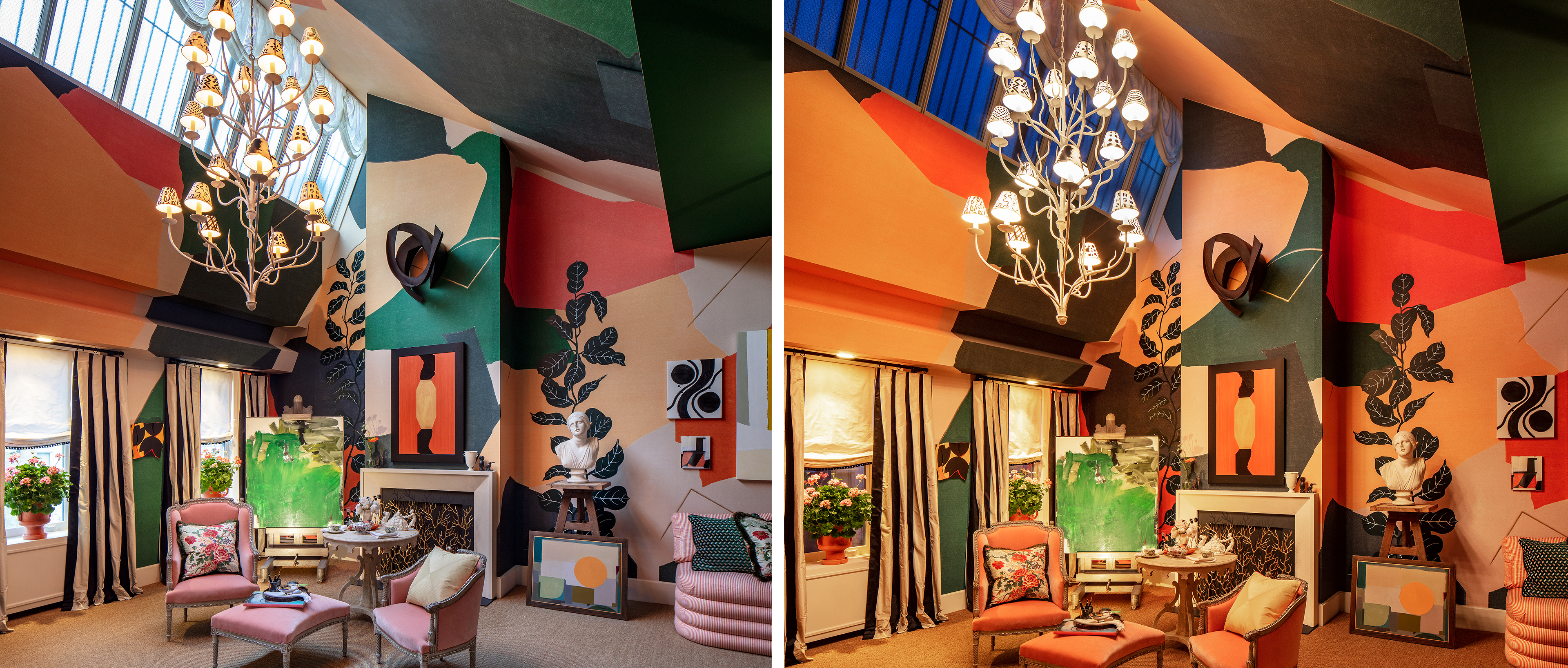 Young Huh's design for Kips Bay Decorator Show House Living Room at day and night