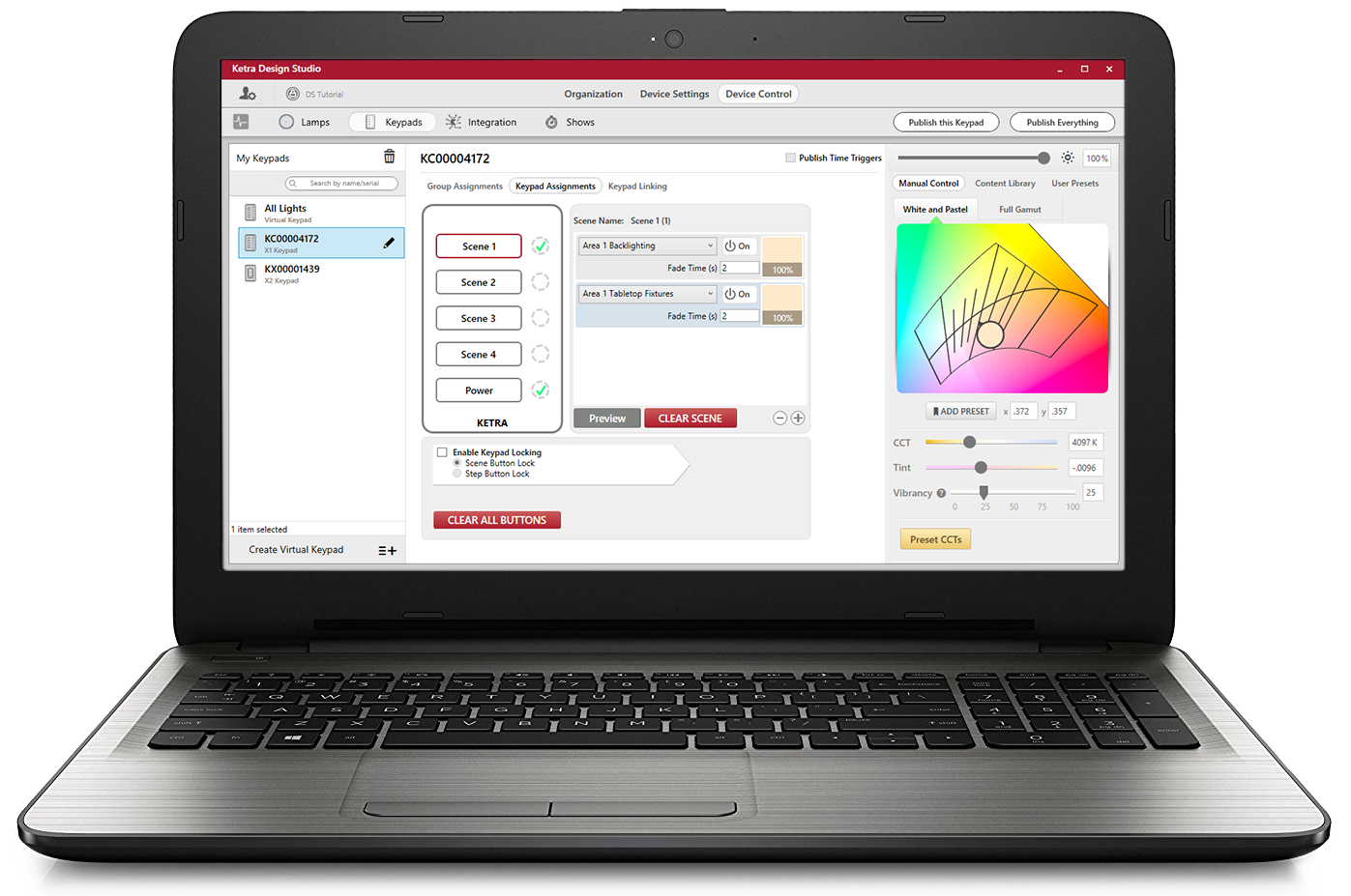 Ketra's Design Studio Software on laptop